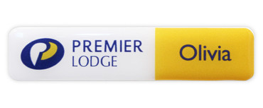 Borderless plastic name badges - White edge and white / yellow background | www.namebadgesinternational.co.uk